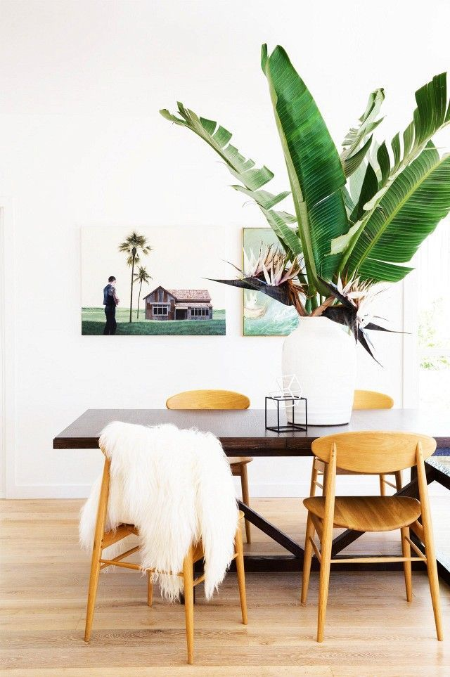 Airy dining space with modern art, a large indoor tropical plant, and simple wood dining chairs