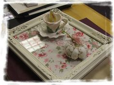 Picture frames as serving trays, frame sheet music, pretty art, pictures, whatever fits the theme.