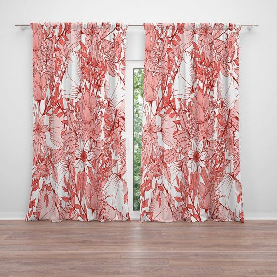 Living Coral Flower Print Window Curtains 2 50 X 84 Curtain