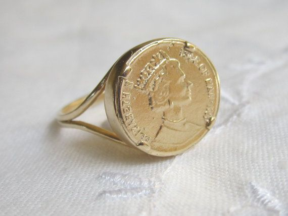 SALE  Gold coin Ring Coin ring  Vintage ring by EldorTinaJewelry, $34.00