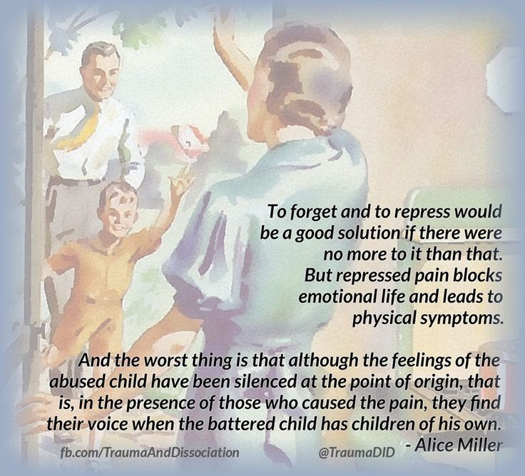 "Repressed Memories of Child Abuse ""To forget and to repress would be a good solution if there were no more to it than that. But repressed pain blocks emotional life and leads to physical symptoms. And the worst thing is that although the feelings of the abused child have been silenced at the point of origin, that is, in the presence of those who caused the pain, they find their voice when the battered child has children of his own. - Alice Miller Banished Knowledge ‪#‎childabuse‬"