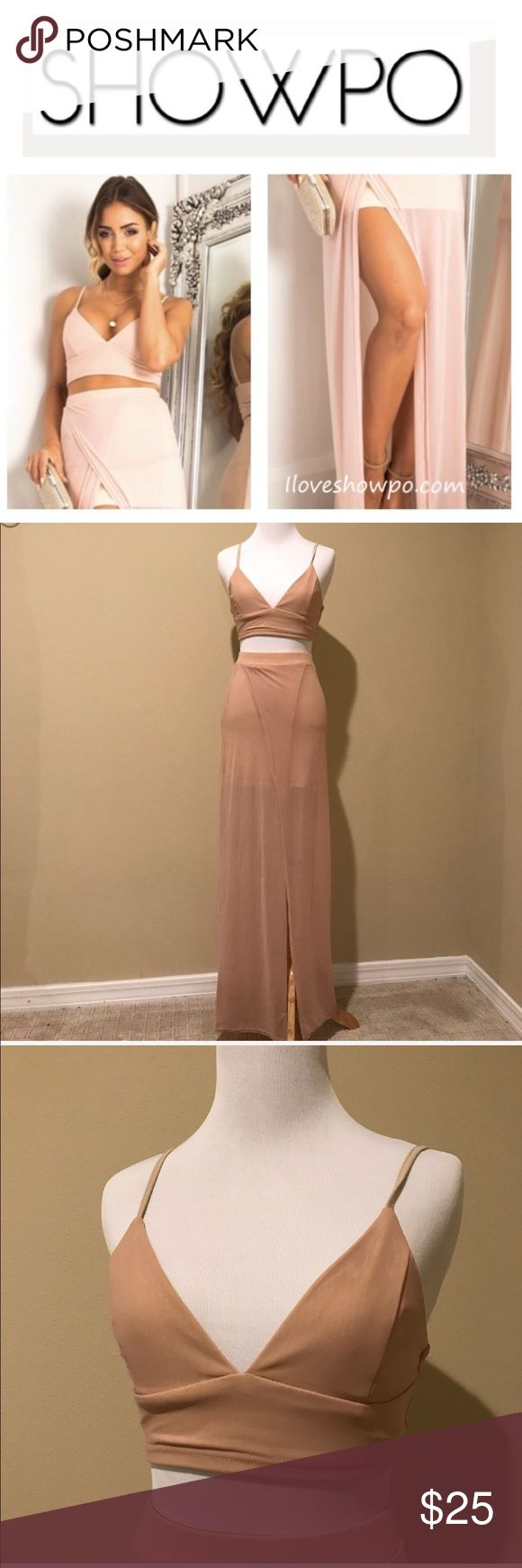 Showpo body language set in blush EUC, worn once, Aussie size 8(US small) please review Conversion chart in photos to verify sizing.   Look effortlessly stunning in this blush two piece set. Add a body chain for a bohemian vibe or a pair of heels and delicate jewelry for a more formal look. showpo Skirts Skirt Sets