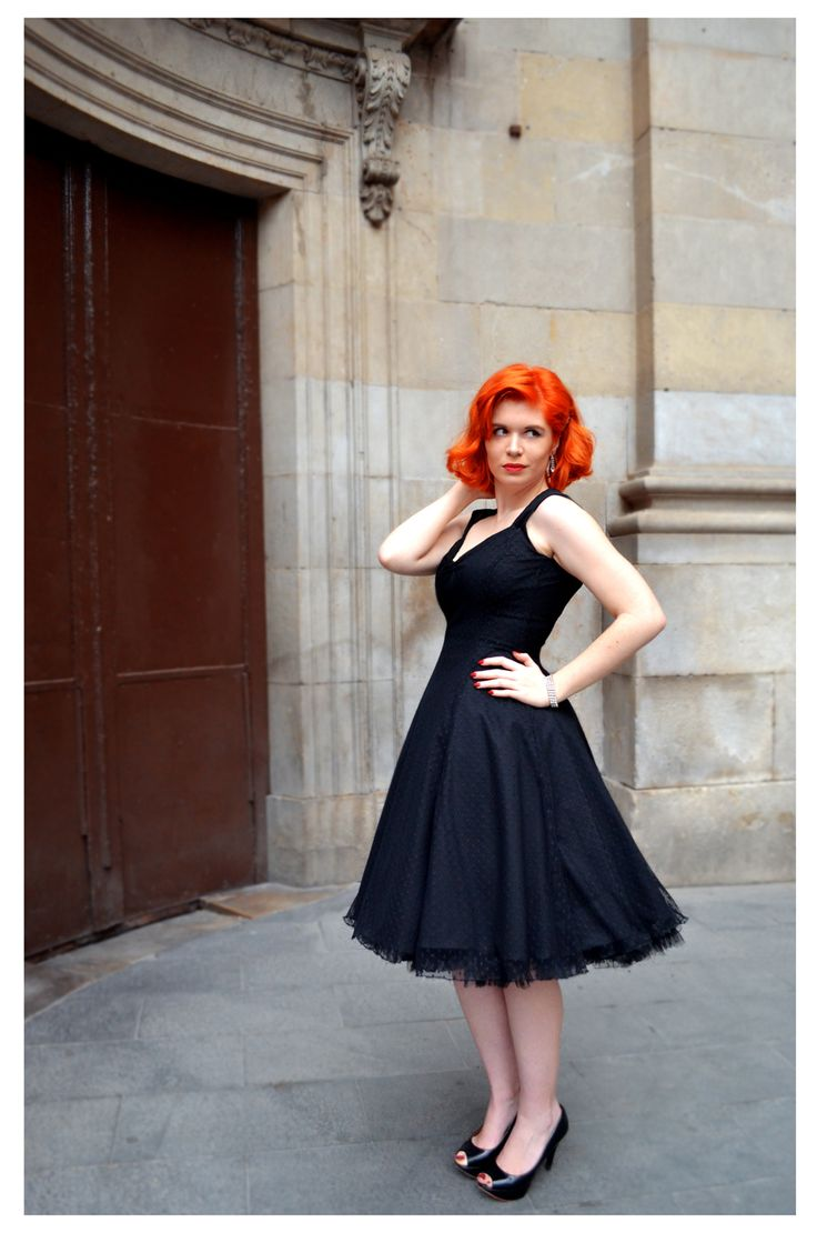 Maria flared dress in black with black rice dot sheer overlay. Gorgeous 50s inspired prom dress.   http://ow.ly/MbM5c
