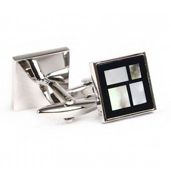 Sterling Silver Marble Stone Square Shape Cufflinks