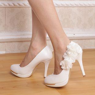 Lace flower female shoes wedding shoes wedding shoes bridal shoes high-heeled…