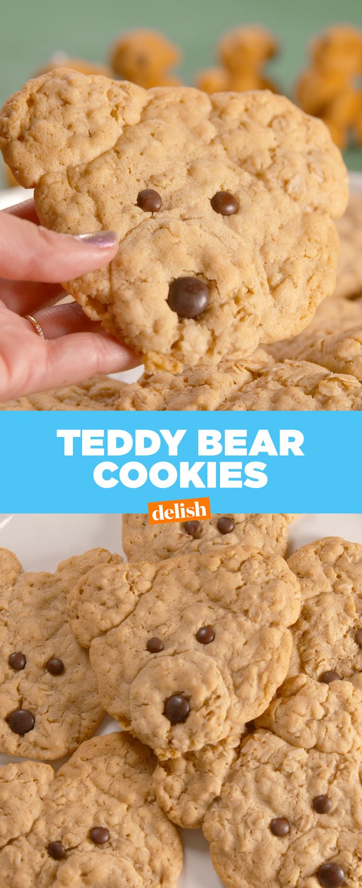 These Teddy Bear Cookies are almost too cute to eat... ALMOST. Get the recipe at Delish.com.