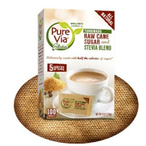 Pure Via All Natural Stevia and Turbinado Raw Cane Sugar Blend Packets (Pack of 2). It's certified Kosher Parve. Now sugar has met its match with our new Pure Via Turbinado and Stevia Blend! All natural, raw cane sweetness with only 5 calories per serving. 100 packets per box (Total of 200 packets). It is sweetened using all natural stevia. You can spoon, sprinkle, dip or mix Pure Via Turbinado Raw Cane Sugar and Stevia blend as you would sugar. 1 Packet or ½ teaspoon is equivalent...