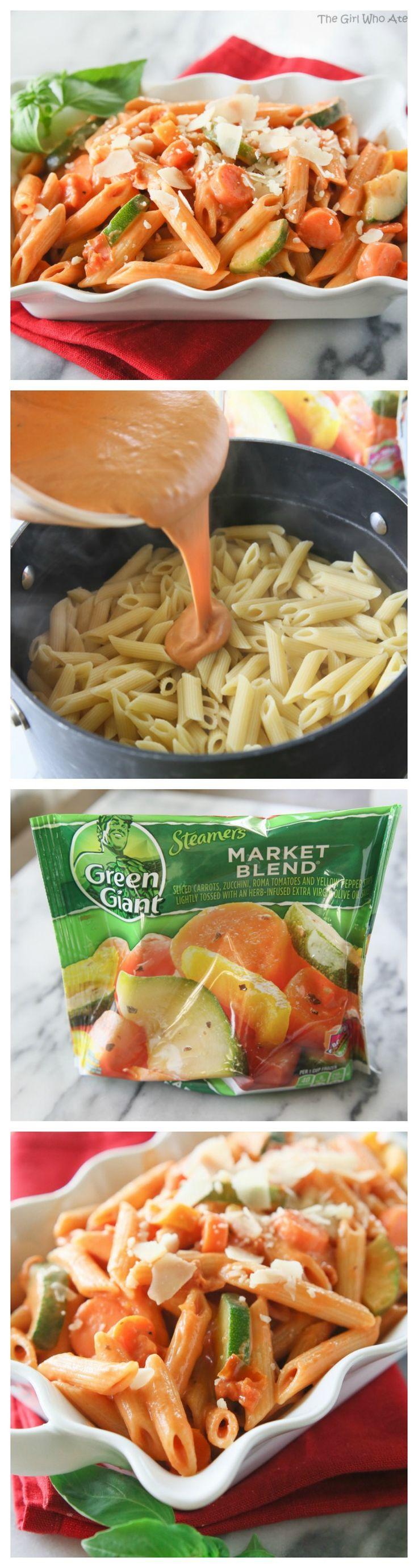 Creamy Pasta Primavera - or as my kids say, pasta with pink sauce and veggies.