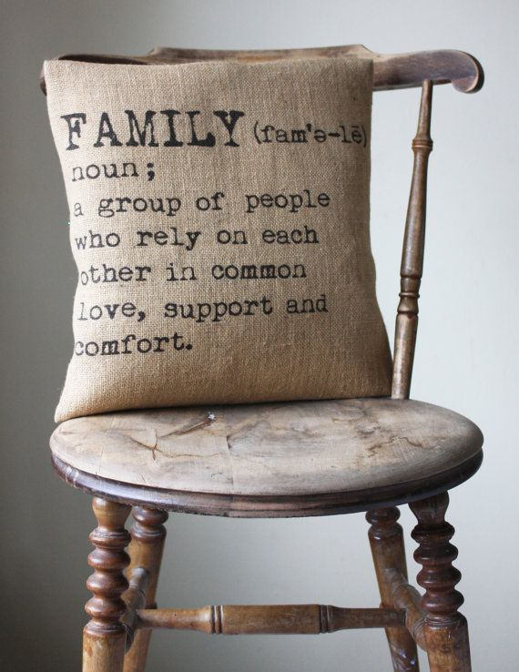 industrial chic cushion cover  // Family by betsyjarvis on Etsy $7 USD