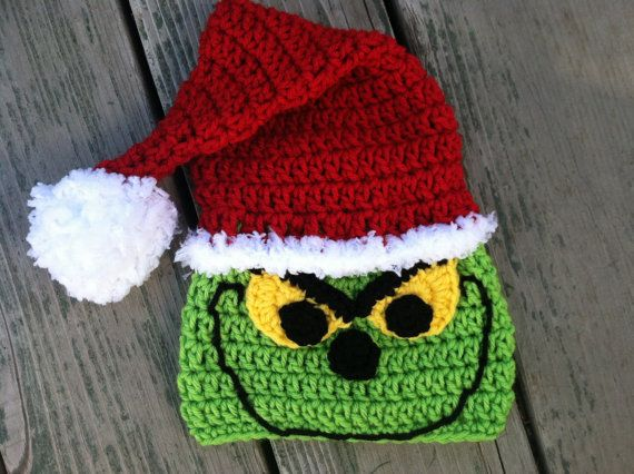 Christmas Santa Grinch Crochet Pattern -- Pattern Includes Sizes Newborn-adult. $4.50, via Etsy.