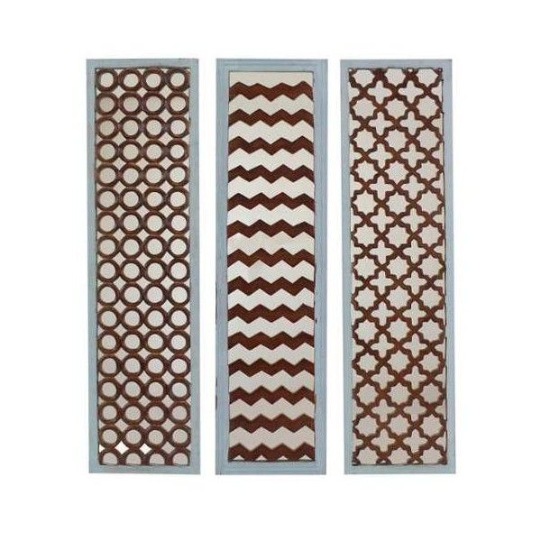 Aspire Home Accents 2111 Landon Mirror Wall Decor (Set of 3) Blue Home ($206) ❤ liked on Polyvore featuring home, home decor, mirrors, blue, chevron home decor, 3 piece mirror, chevron mirror, blue mirror and set of three mirrors