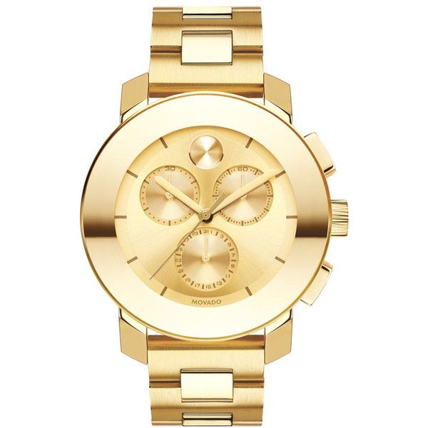Movado Bold Chrono Goldtone Bracelet Watch, 38mm ($879) ❤ liked on Polyvore featuring men's fashion, men's jewelry, men's watches, mens chronograph watches, movado mens watches, mens stainless steel watches and mens gold tone watches