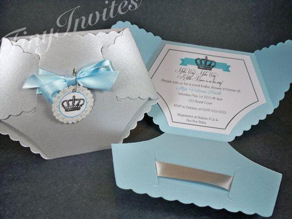 Little Prince Baby Shower Invitation,baby boy invitations,royal baby shower,crown,diaper baby shower invitations,digital invites