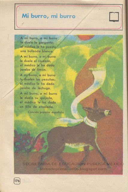 Libros de Primaria de los 80's: Mi burro, mi burro - Español Ej. y Lec. 4to grado