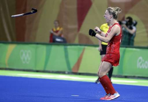 Britain tops Netherlands, wins 1st women's field hockey gold:  August 19, 2016  -     Britain's Hollie Webb, throws her stick as she celebrates after she scored the last penalty shootout goal against Netherlands, during a women's field hockey gold medal match at 2016 Summer Olympics in Rio de Janeiro, Brazil, Friday, Aug. 19, 2016. (AP Photo/Hussein Malla)