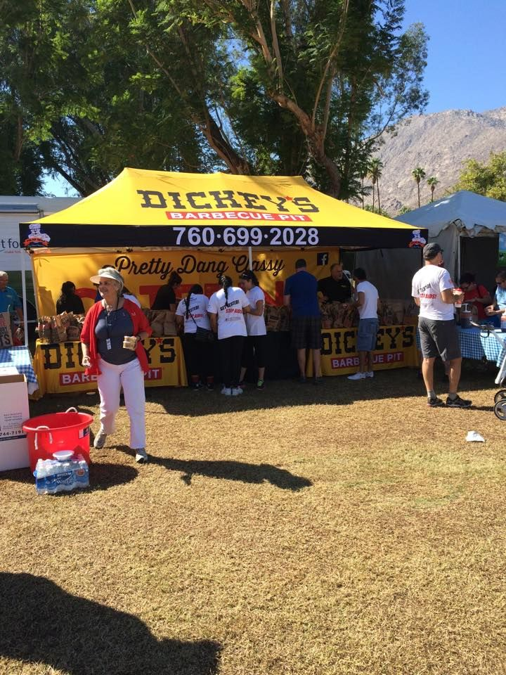 Event tent for Dickey's Barbecue Pit Palm Springs, CA from DesertWraps.com. 760-935-3600 Servicing Palm Springs, Cathedral City, Rancho Mirage, Palm Desert, La Quinta, Indian Wells, Indio, Coachella Valley.