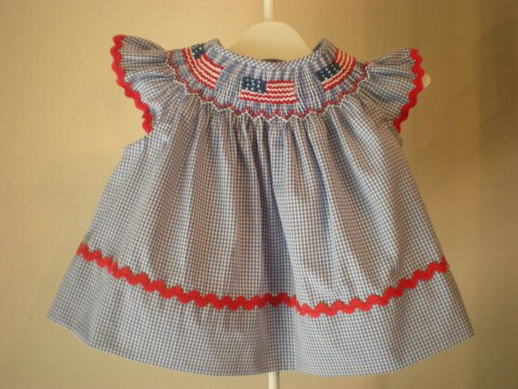 Smocked American Flag dress with angel sleeves