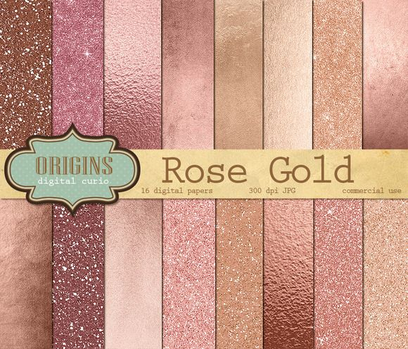 Rose Gold Digital Paper by Origins Digital Curio on Creative Market