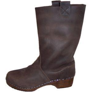 Brown Oil Clog Boots