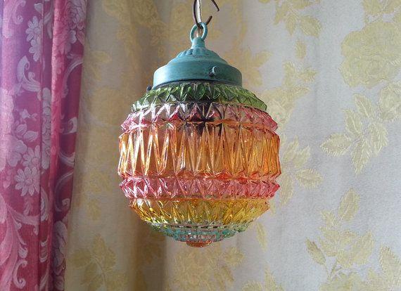 Geperst glas hanger verlichting, zomer kleuren