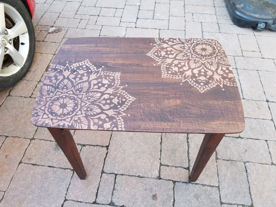 Learn How To Stencil And Stain Wooden Nesting Tables Using The Passion  Mandala Stencil From Cutting