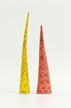 jana sterbak Measuring Tape Cones / Massbandkegel, 1979  2 measuring tapes/ (2 cones)  2 Maßbänder/ (2 Kegel) 24 and 27 x 5 cm