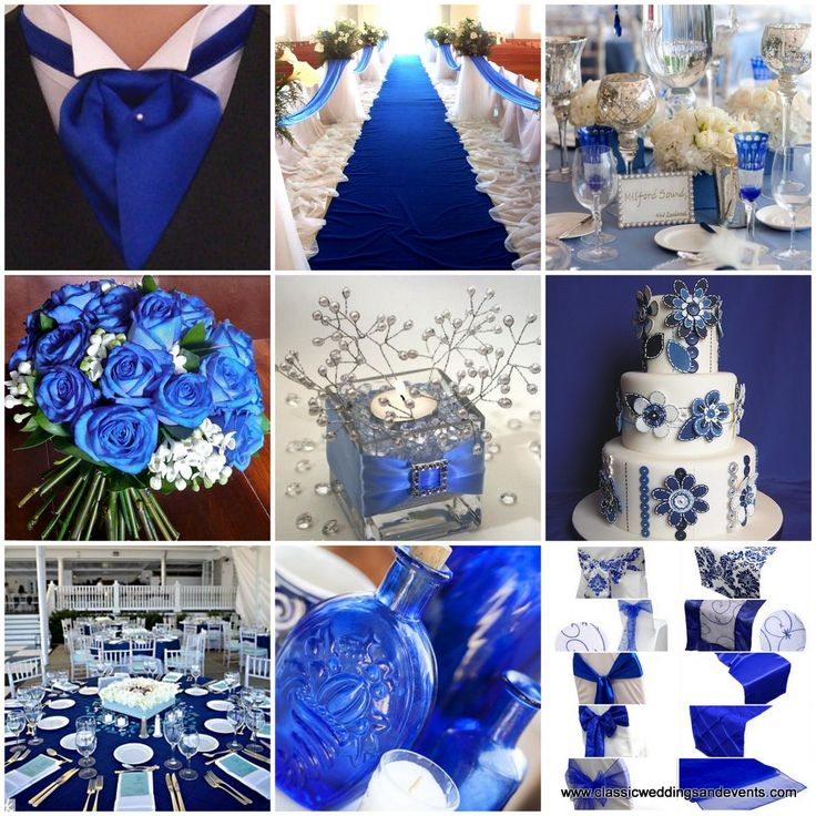 royal blue with silver and lace wedding reception | Classic Weddings and Events: Royal Blue Wedding Ideas - keep the lite blue table cloth, and the simple flowers. add movie themed cards,pearls, brooch, royal blue napkins and blue glassware.