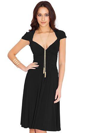 Beautiful Black Jersey Skater Evening Party Midi Dress Size 10 M