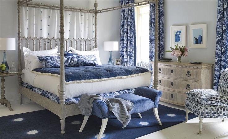 William Yeoward Indigo Bleu Fabrics Bedroom Collection | TM Interiors Limited