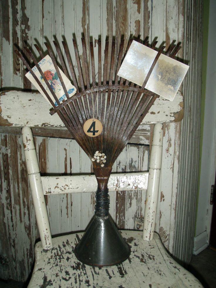 leaf rake & funnel to hold cards etc