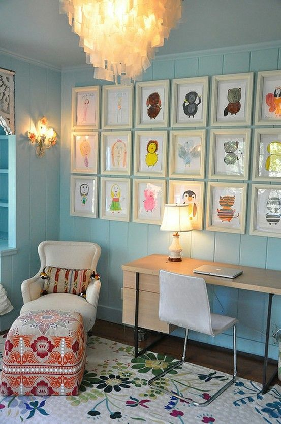 kids art work....I love this!  What an easy and fun way to display your child's art.  Easily switched out in the frames for new art!