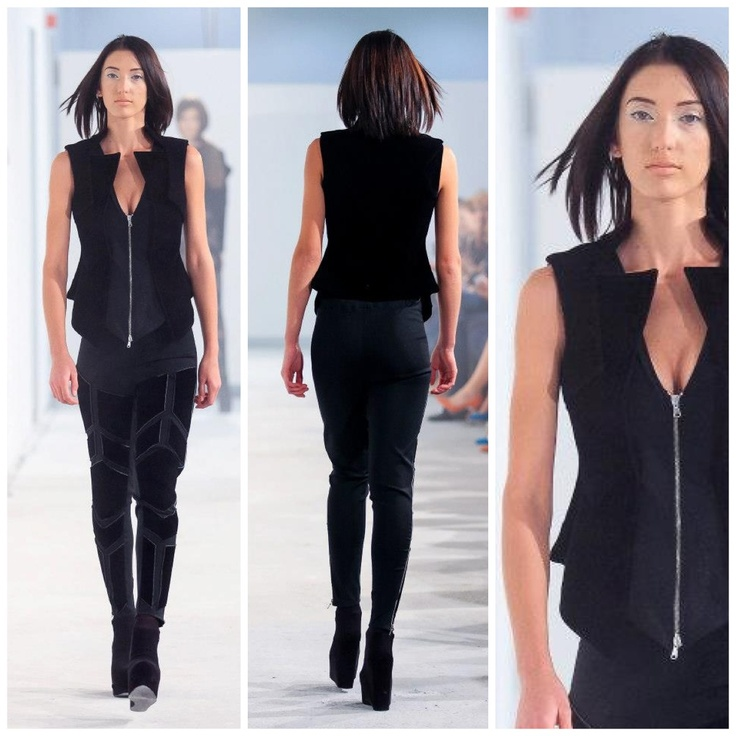 Black trousers with neoprene details and neoprene cuout vest @ FE[MALE]