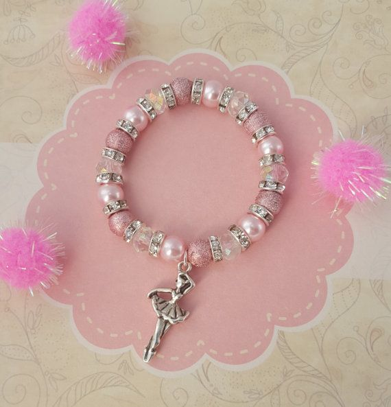 Ballerina Charm Bracelet, Kids Bracelet, Crystal Jewellery, Ballet Jewelry, Children's Fashion, Pink Beaded Bracelet, Dancer Charm, Ballet