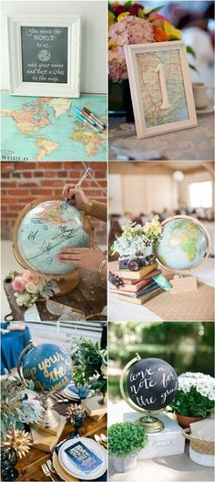 Travel Map Globe Unique Wedding Ideas / http://www.deerpearlflowers.com/travel-themed-wedding-ideas-youll-want-to-steal/
