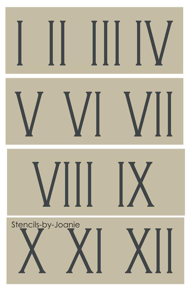 "Roman Numeral STENCIL 3"" Skinny Number Clock Shabby Cottage Vintage Address Home #StencilsbyJoanie"
