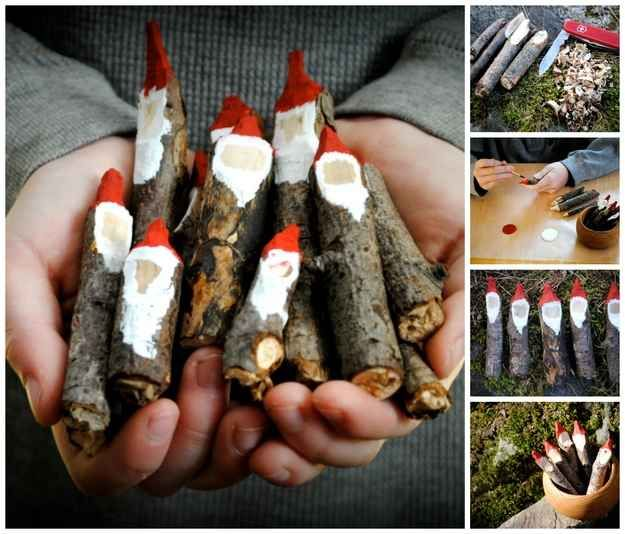 Santa Plant Markers | 16 Wintry Christmas Decorations Made From Twigs