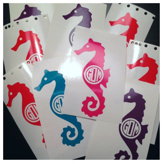 Monogrammed seahorse decal personalized x nautical sticker cute custom decal for car many colors beach theme for summer
