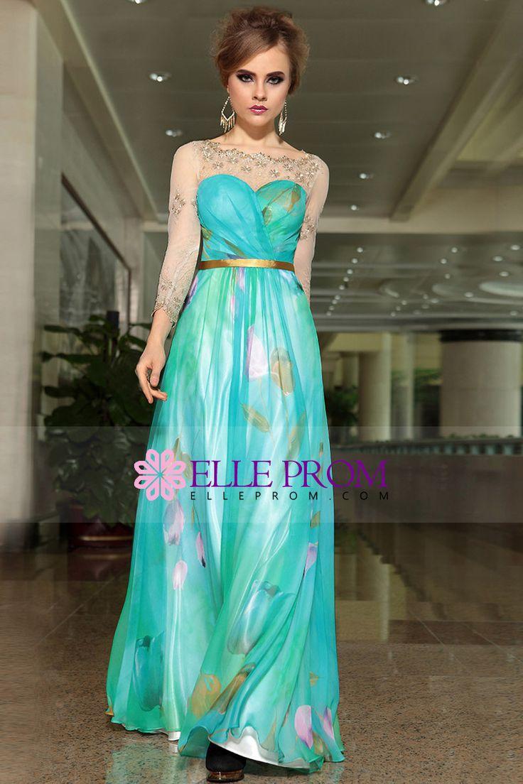 2014 Fresh Bateau Neckline Chiffon Prom Dress Floor Length  #30903 (Color Just As Picture Show)