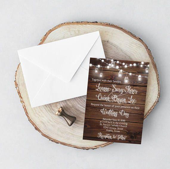 Rustic Wedding Invitation wood rustic wood wedding