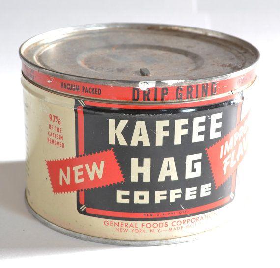 Vintage Kaffee Hag Coffee Can / Tin by MagsandI on Etsy