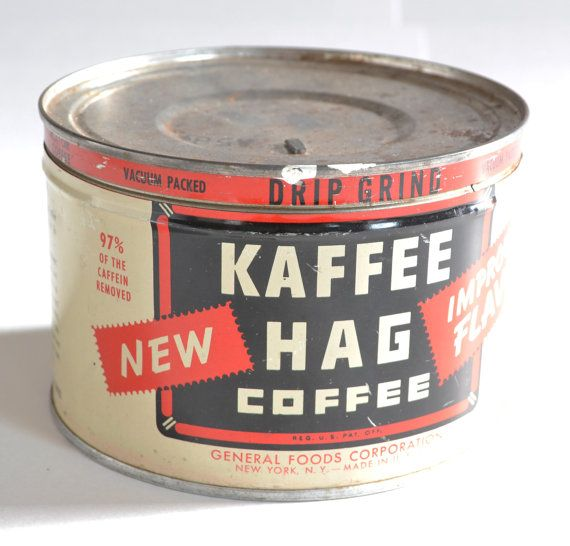 Vintage Kaffee Hag Coffee Can / Tin by MagsandI on Etsy