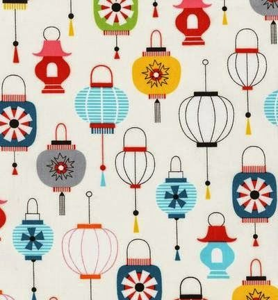 new collection from Suzy Ultman coming out this month. Called Kokeshi it features cute little Japanese Dolls mixed with birds, lanterns, and a circular geometric.