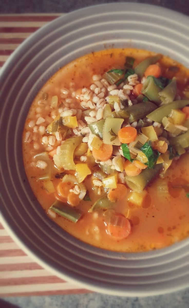Barley is one of my favourite grains! It retains so much texture after being cooked, it's wonderful! This soup has a collection of garden fresh vegetables and tender barley in every delicious bite!  #soup #vegetarian #barley #grains #vegetables #gardenfresh