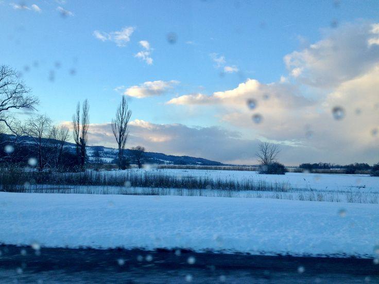 Winter Lake Switzerland.