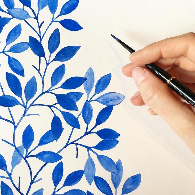 Starting another one! #handbookwatercolorjournal #blueleaves #watercolor #pattern #illustratorinminneapolis #illustration #painting #makingitupasigo