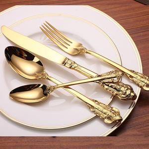 24 Piece Vintage 18k Gold Plated Stainless Steel Silverware Set 6 Settings Online Free Shipping On Now