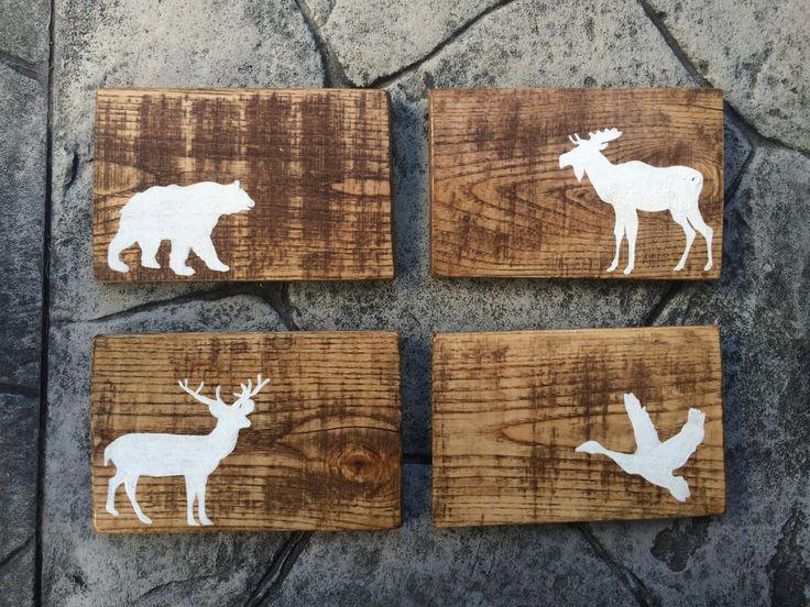 Custom Reclaimed Wood sign- Canadian animals, bear, moose, goose, deer- nursery…