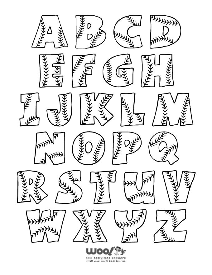 Softball/Baseball Alphabet Letter Set A-Z