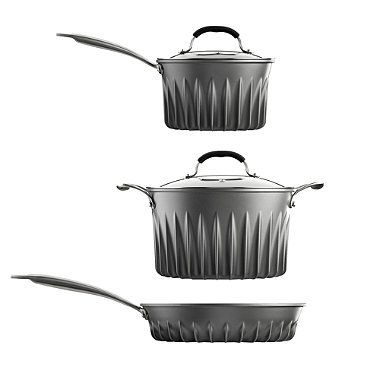 Rocket Scientist-designed Flare® Pan Set.  40% faster heating (with gas) and incredibly even heat on all heat sources.