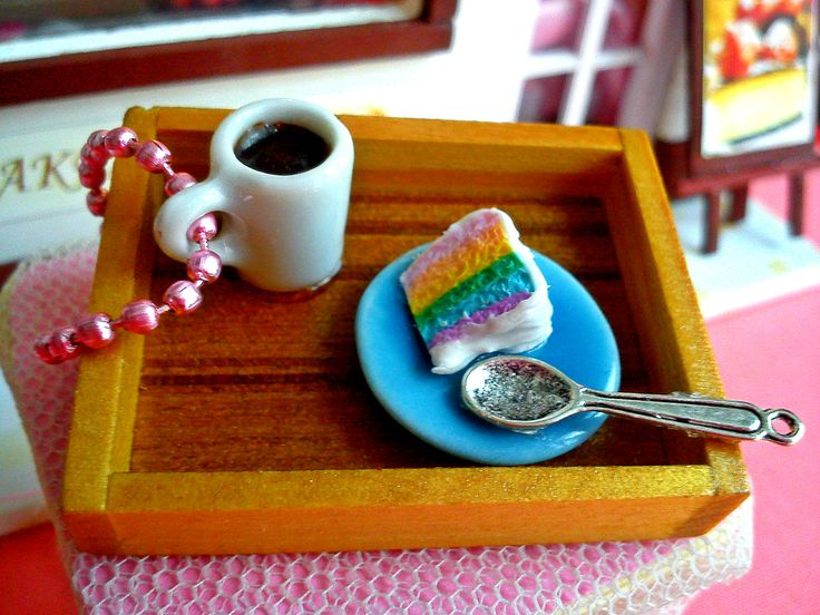 evening filter coffee with a piece of rainbow cake !